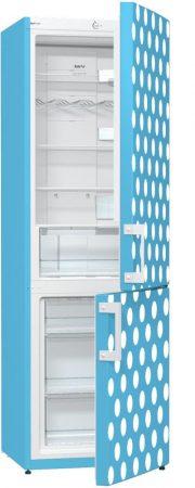 GORENJE NRK6191C babyBlue világoskék fehér pöttyös No-Frost kombinált hűtőszekrény